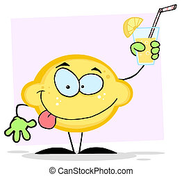 Lemon Character Holding Up Lemonade - Lemon Mascot Cartoon...