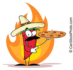 Pepper Holds Up Pizza In Flame - Red Pepper Character...