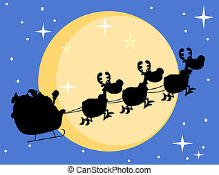 Santa And A Reindeers Flying - Silhouette Of Santa And Magic...