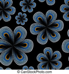 Seamless pattern with blue tiare flowers, dots, doted...