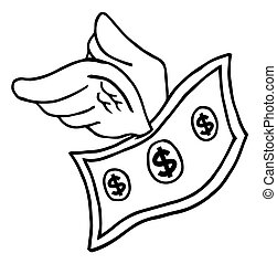 Outlined Flying Dollar - Coloring Page Outline Of A Flying...
