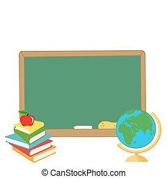Elementary School Design - Desk Globe By A Blank Chalk Board...
