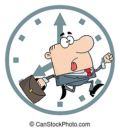 Businessman Late For Work - Hurried White Businessman...