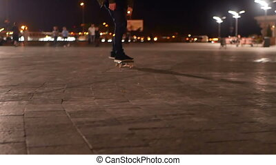 Skateboard jumping park - Silhouette of skater on skateboard...