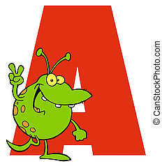 Letter A With An Alien