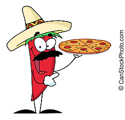 Red Pepper Holding A Pizza - Sombrero Chile Pepper Holds Up...