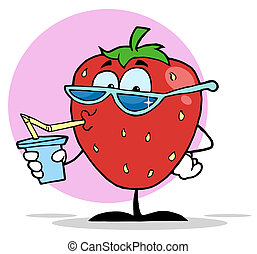 Cartoon Strawberry Juice Drink