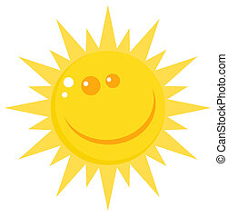 Happy Sun Face With A Smile - Smiling Sun Cartoon Character