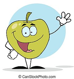 Waving Green Apple Character - Happy Apple Waving A Greeting