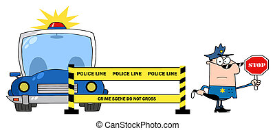 Police Line And Police Officer - Caucasian Police Man...