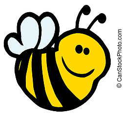 Bee Cartoon Character - Cute Cartoon Smiling Bee