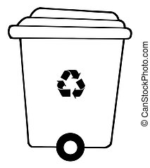 Rolling Plant Recycle Bin Cartoon Character