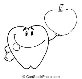Outlined Tooth Holding An Apple