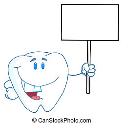 Tooth Holding A Blank White Sign - Smiling Tooth Cartoon...