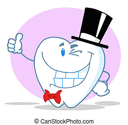 Smiling Winking Gentleman Tooth - Tooth Character Gent...