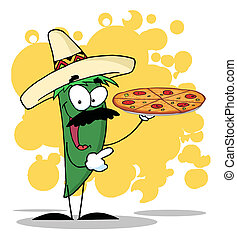 Green Pepper Holds Up A Hot Pizza - Green Pepper Character...