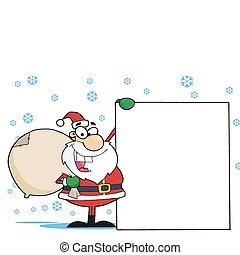 Christmas Santa Clause - Jolly Santa Holding A Sack Over His...