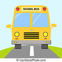 School Bus On Road - Frontal View Of A Yellow School Bus On...