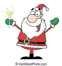 Santa Claus Drinking Champagne - Jolly Christmas Santa...