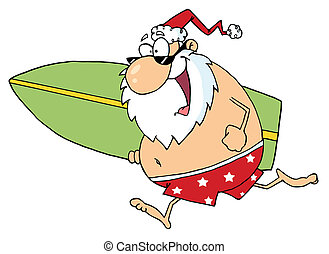 Cartoon Santa Surfer - Santa In Shorts, Running With A...