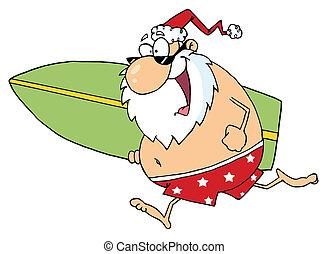 Cartoon Santa Surfer - Santa In Shorts, Running With A...