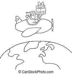 Outlined Santa Claus - Coloring Page Outline Of Santa Flying...