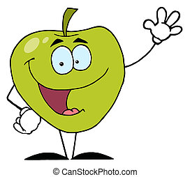 Green Apple Character Waving - Happy Cartoon Apple Waving A...