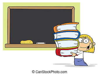 School Blond Girl With Books