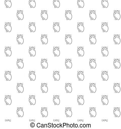 Unique heart seamless pattern with various icons and symbols...
