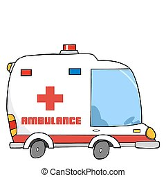 Ambulance Vehicle - Illustration Of A Cartoon Ambulance
