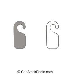 Door tag grey set icon . - Door tag it is grey set icon .