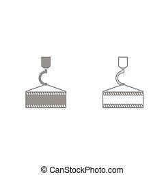 Crane hook grey set icon . - Crane hook it is grey set icon...