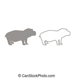 Hippopotamus grey set icon . - Hippopotamus it is grey set...