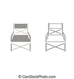 Folding chair grey set icon . - Folding chair it is grey set...