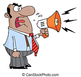 Boss Man Screaming Into Megaphone - Angry African American...