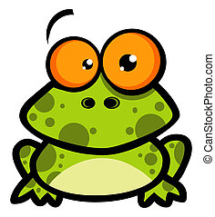 Little Frog Cartoon Character - Goofy Spotted Frog With Big...