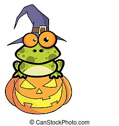 Frog With A Witch Hat In Pumpkin - Spotted Frog Wearing A...