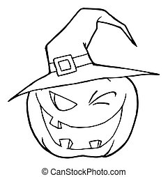 Halloween Pumpkin - Coloring Page Outline Of A Toothy...