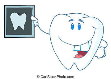 Happy Tooth Holding An Xray