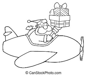 Outlined Santa Claus Holding Up A Stack His Christmas Plane