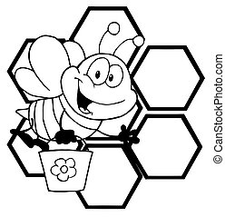 Outlined Bee Cartoon Character - Black And White Bee Waving...