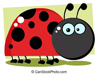Smiling Happy Ladybug - Ladybug Cartoon Character With...