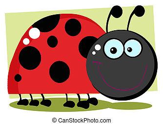 Smiling Happy Ladybug - Ladybug Cartoon Character With...