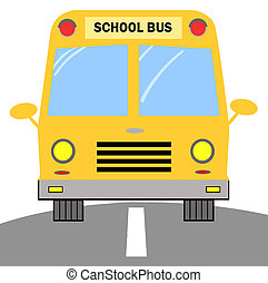 Yellow School Bus - Frontal View Of A Driving Yellow School...