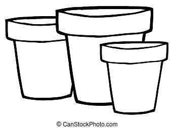 Outlined Terra Cotta Pots - Three Outlined Terra Cotta Pots...