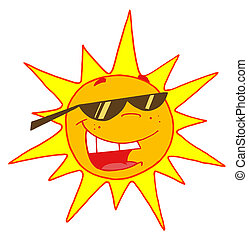 Summer Sun Wearing Shades - Cool And Bright Sun Character...