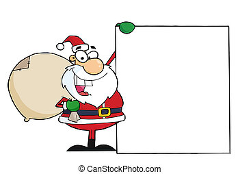 Santa Clause A Blank Sign - Jolly Santa Holding A Sack Over...
