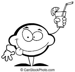 Outlined Lemon Character - Outlined Mascot Cartoon Lemon...