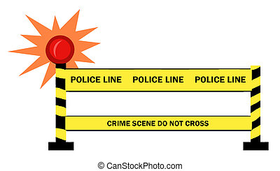 Police Line - Shining Light By A Police Line Barrier