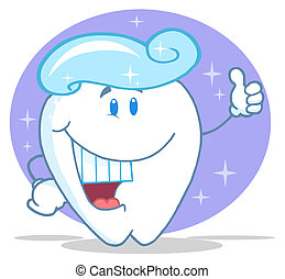 Smiling Tooth With Toothpaste - Tooth Character With A...